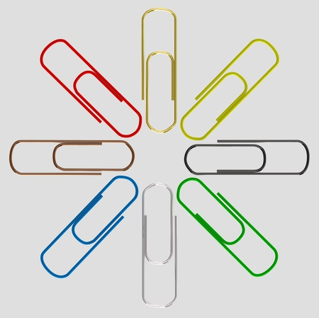 set colorful paper clips - isolated on grey background  photo