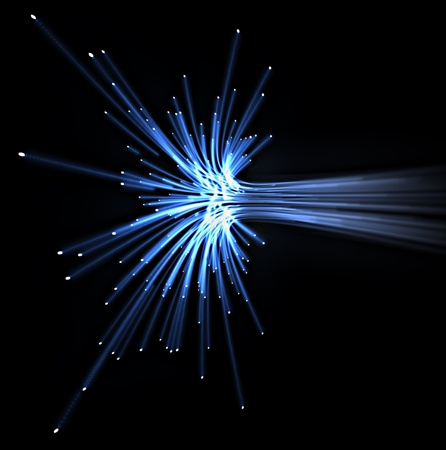 optical fiber: blue light optical fiber Stock Photo