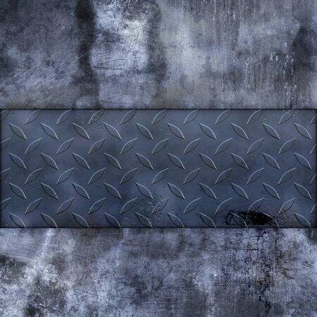 Hard grunge wall with metal plate photo