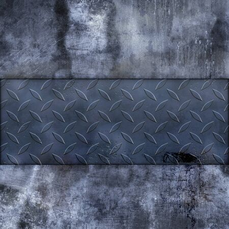 Hard grunge wall with metal plate photo