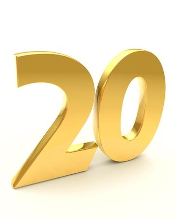 twenty: golden twenty  Stock Photo