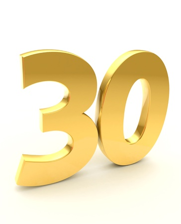 thirty: golden thirty  Stock Photo