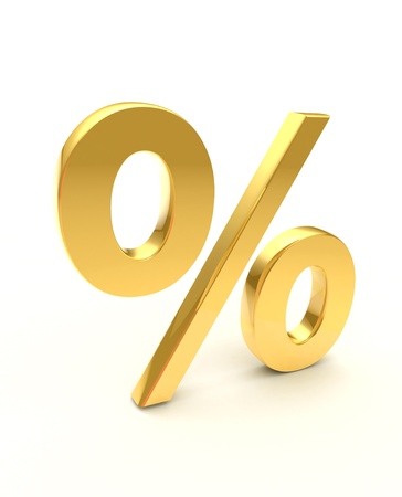 golden percentage sign Stock Photo - 10069321