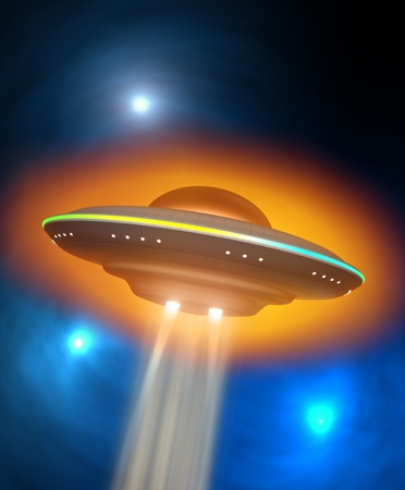 Flying saucer and energy beam Stock Photo