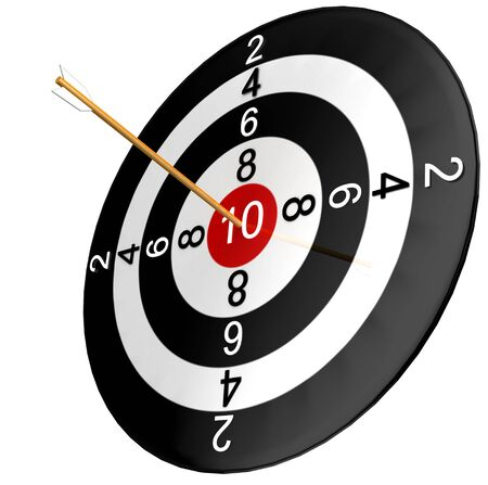scoring: dartboard with arrow isolated in white background
