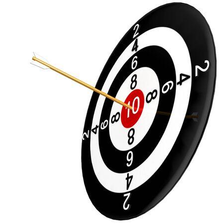 competitividad: diana con la flecha aislada en fondo blanco
