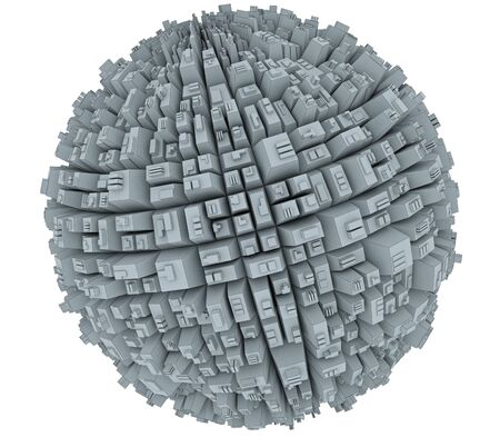 mega city: Abstract spherical city Stock Photo