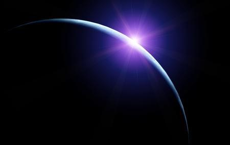 sol naciente: Luna con el sol naciente