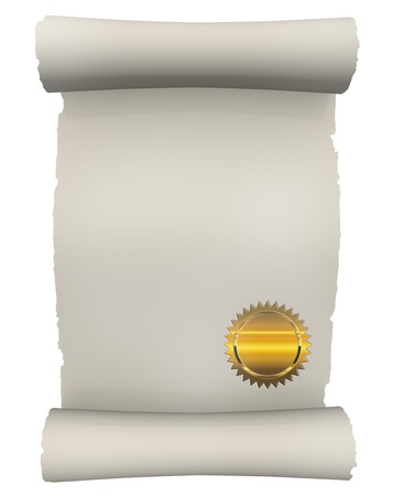 digitally generated image: Certificate Scroll with golden seal Stock Photo