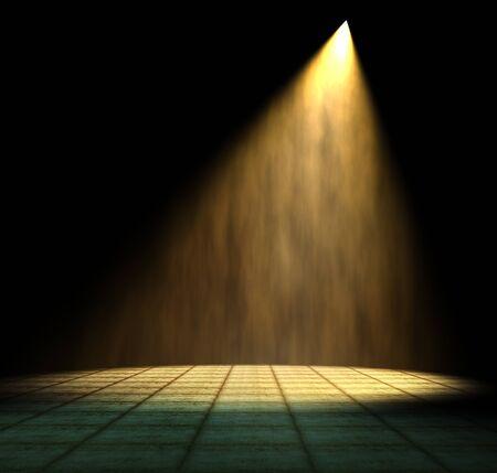 Light Beam in dark room Stock Photo