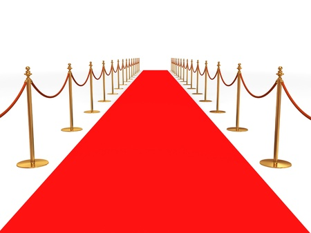 red line: Red carpet entrance with the stanchions and the ropes