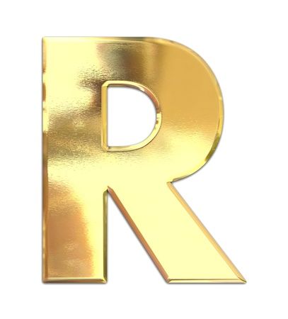 white letters: Yellow metal letter