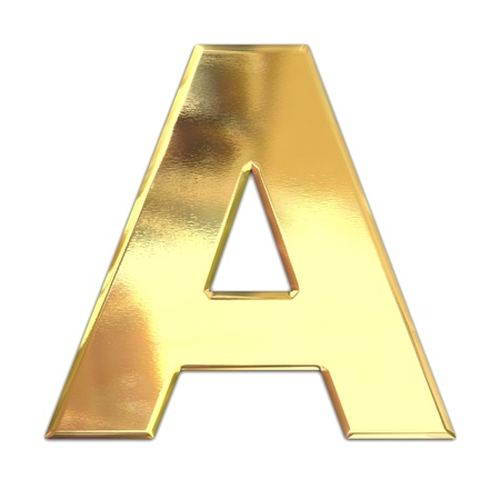 gold font: Yellow metal letter
