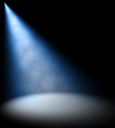 theater stage: Blue Light Beam  Stock Photo