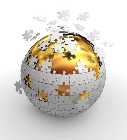 Jigsaw puzzle sphere photo