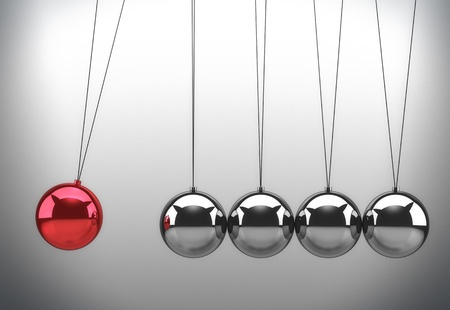 newton cradle: Newtons cradle with one red ball