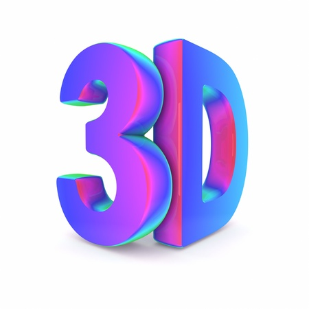 the third dimension: Colorful 3D word Stock Photo