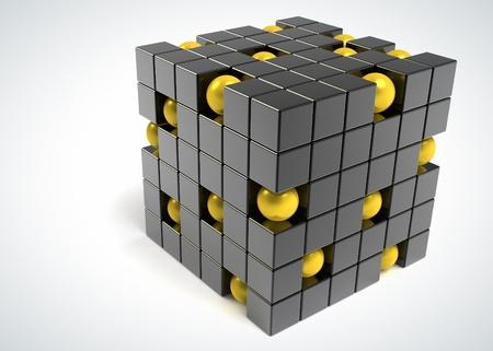 unique concept: Box and sphere - balanced elements Stock Photo