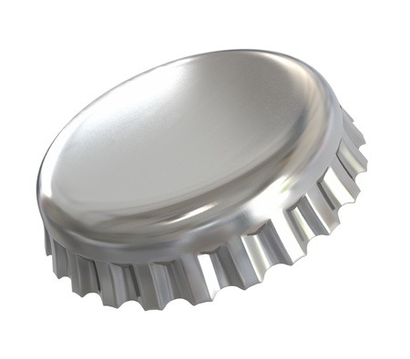 single beer bottle: Bottle cap - isolated with clipping path