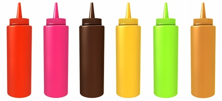 Colored bottles with different sauces photo