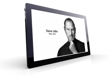Tablet pc showing the image of Steve Jobs, photo posted on the Apple.com