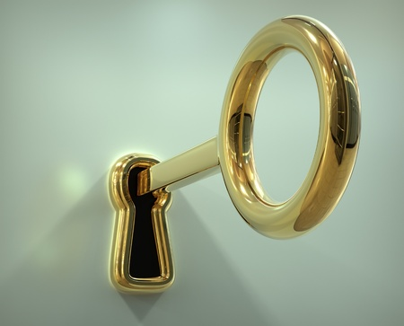 three dimensional shape: Key in the keyhole - 3d illustration Stock Photo