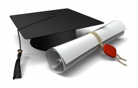 birrete: Diploma y casquillo de la graduación Foto de archivo