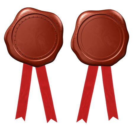 certificated: Wax seal with red ribbons  Stock Photo