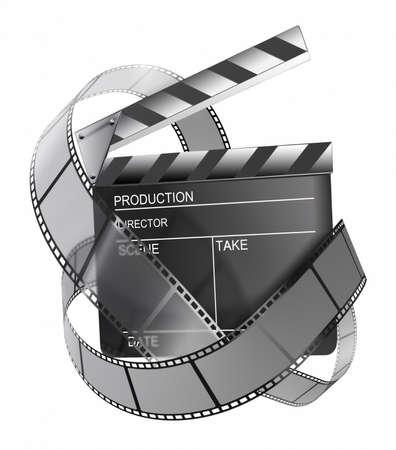 clapperboard: clapboard and film strip