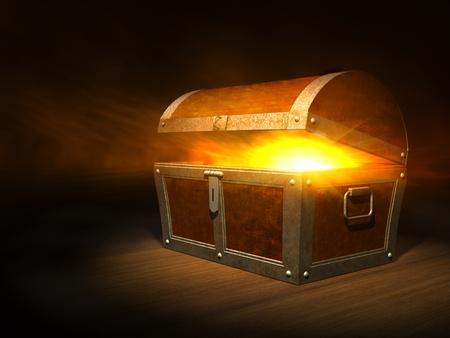 cofre del tesoro: Viejo ba�l del tesoro de madera con fuerte resplandor desde el interior