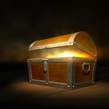 cofre del tesoro: Viejo baúl del tesoro de madera con fuerte resplandor desde el interior