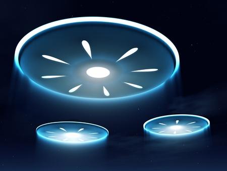 flying disc: Alien spacecraft in the night sky