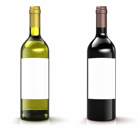 Red and white wine bottles on white background