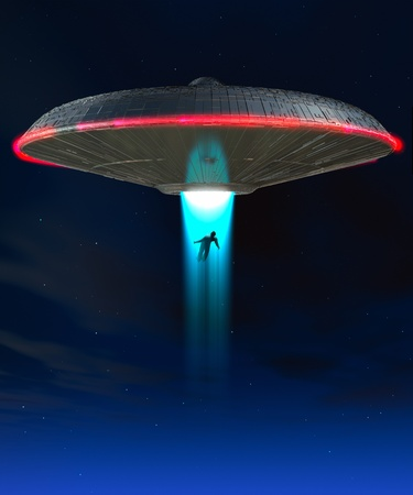 A UFO that is abducting a human  photo