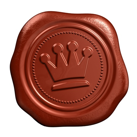 wax stamp: Wax seal with crown stamp