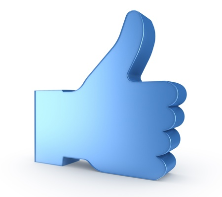 3d thumb up - blue hand symbol  photo