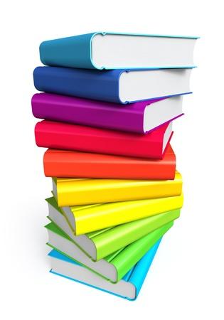 apilar: Pila de libros de colores sobre fondo blanco Foto de archivo