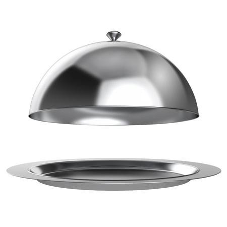 trays: Restaurante campana con la tapa abierta