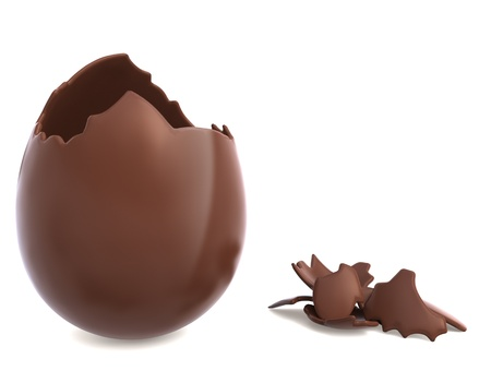 broken egg: Chocolate easter egg broken with pieces