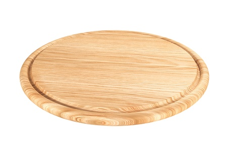 wooden plate for meat and vegetable on white background  photo