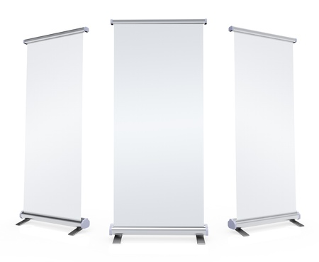 banner stand: Blank roll up banner display on white background Stock Photo