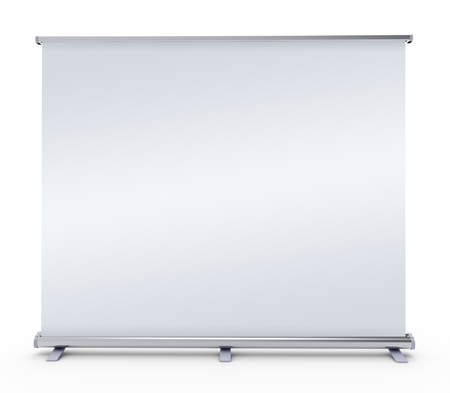 Blank roll up banner display -  on white background photo