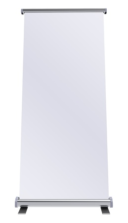 display stand: Blank roll up banner display on white background