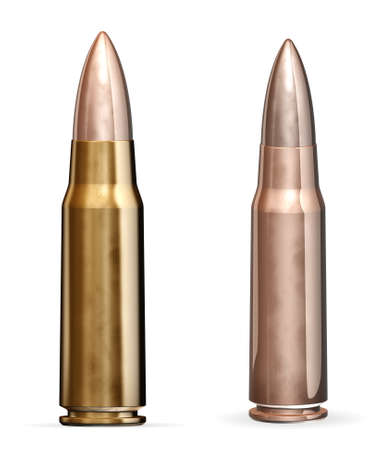 Two bullet - isolated on white background photo