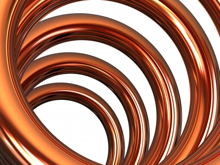 tubes: Copper helix on white background