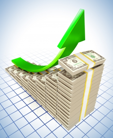 upward graph: 3d illustration of dollar raising charts and upward green arrow