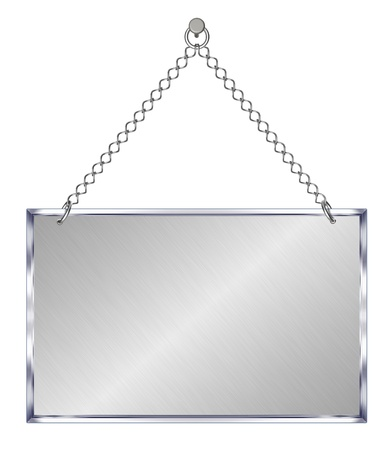 hangs: Announcement board, hangs on chains - isolated on white background