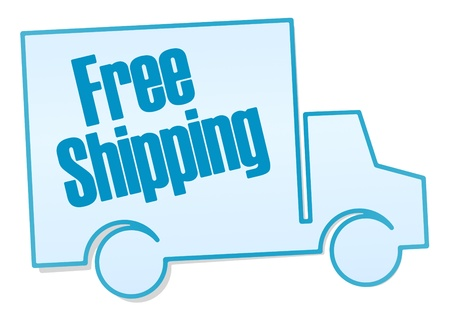 Free shipping sticker - isolated on white background Stock Photo - 14079439