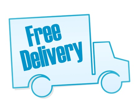 Free delivery sticker on white background Stock Photo - 14080227