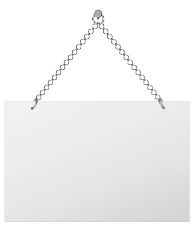hangs: Announcement board, hangs on chains - isolated on white